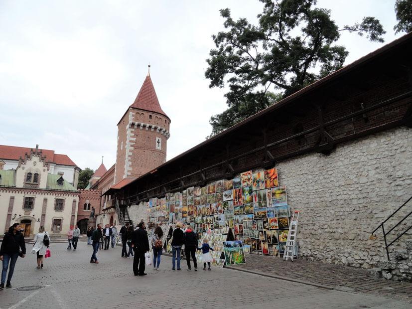 Stadtmauer - Krakau im Regen