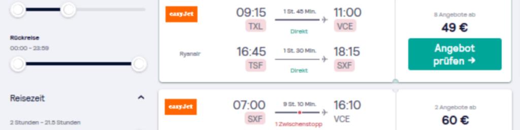Flugauswahl - günstige Flüge buchen