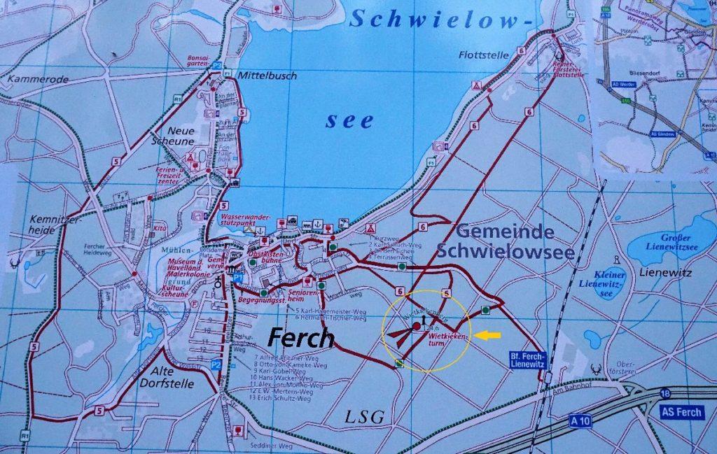 Karte Ferch - Aussichtsturm Wietkiekenberg