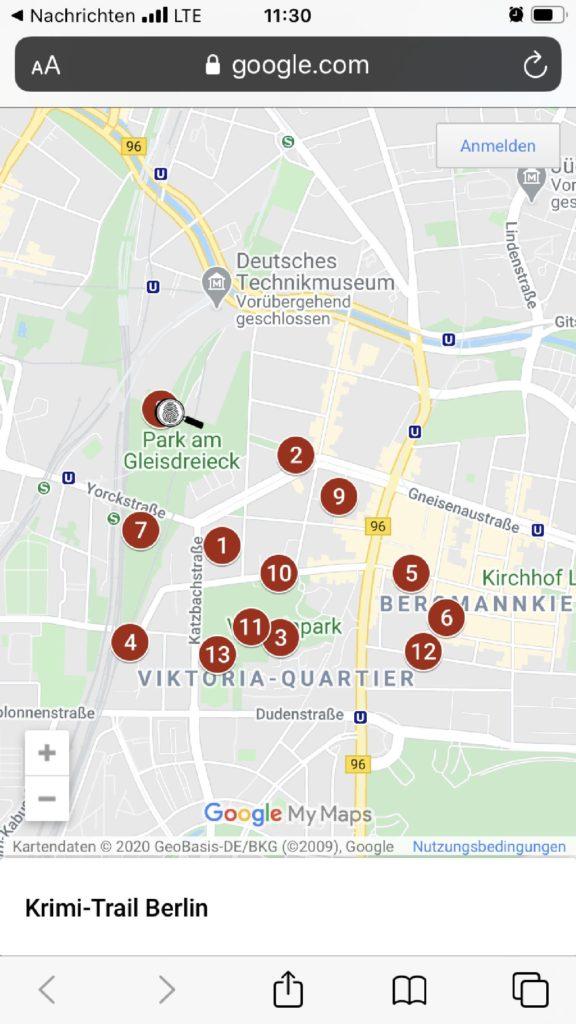 Karte des Krimitrail Berlin Gleisdreieck