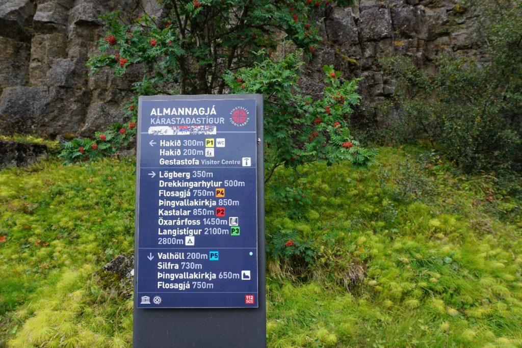 Schild im Thingvellir Nationalpark